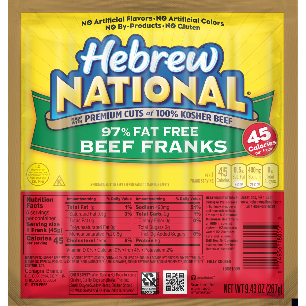 HEBREW NATIONAL Ninety Seven Percent Fat Free Beef Franks