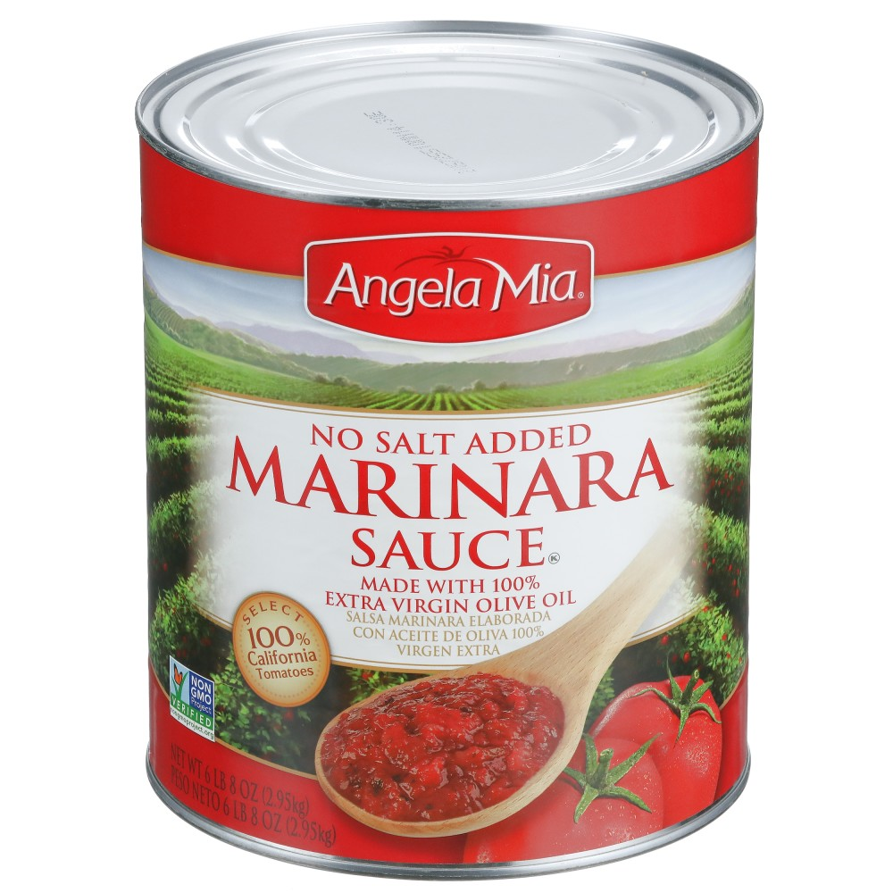 ANGELA MIA No Salt Added Marinara Sauce, #10 Can, 6/104 oz.