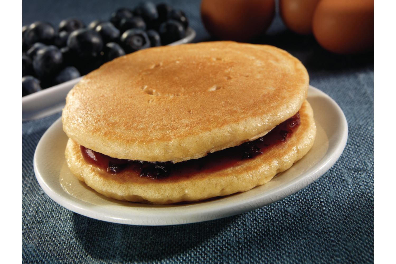 Pancakes with Blueberry Glaze, Whole Grain, 2 pieces, 3 oz