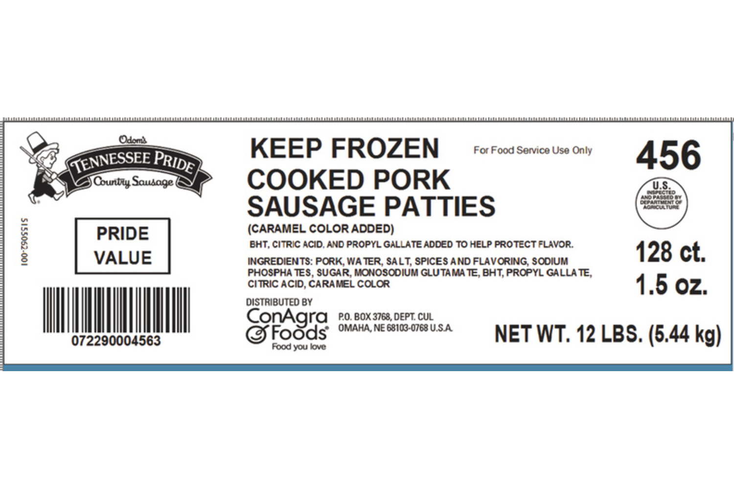 "Value, Fully Cooked 2.5"" Sliced Sausage Patties, Mild"
