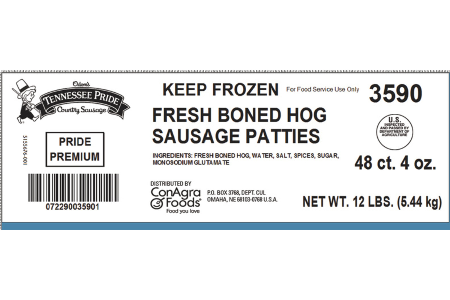 "Premium , Fresh Sliced 3.5"" Sausage Patties, Mild"