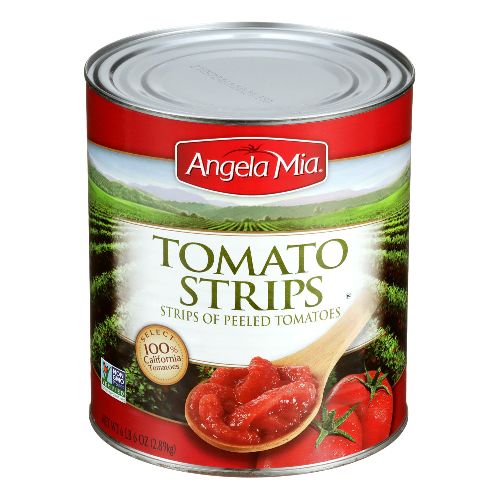 ANGELA MIA Tomato Strips, #10 can, 6/102 oz.