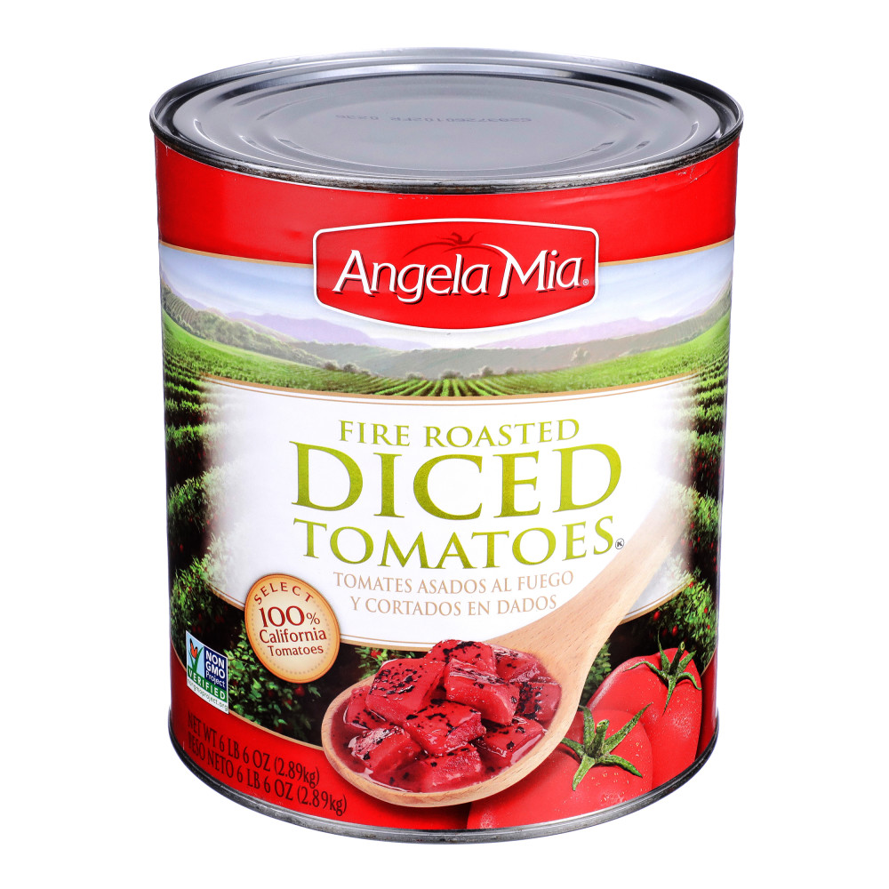 ANGELA MIA Fire Roasted Diced Tomatoes, #10 Can, 6/102 oz.