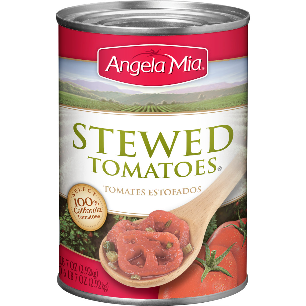 ANGELA MIA Stewed Tomatoes, #10 Can, 6/103 oz.
