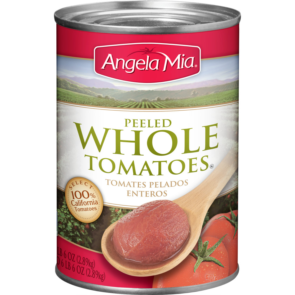 ANGELA MIA Whole Peeled Tomatoes, #10 Can, 6/102 oz.