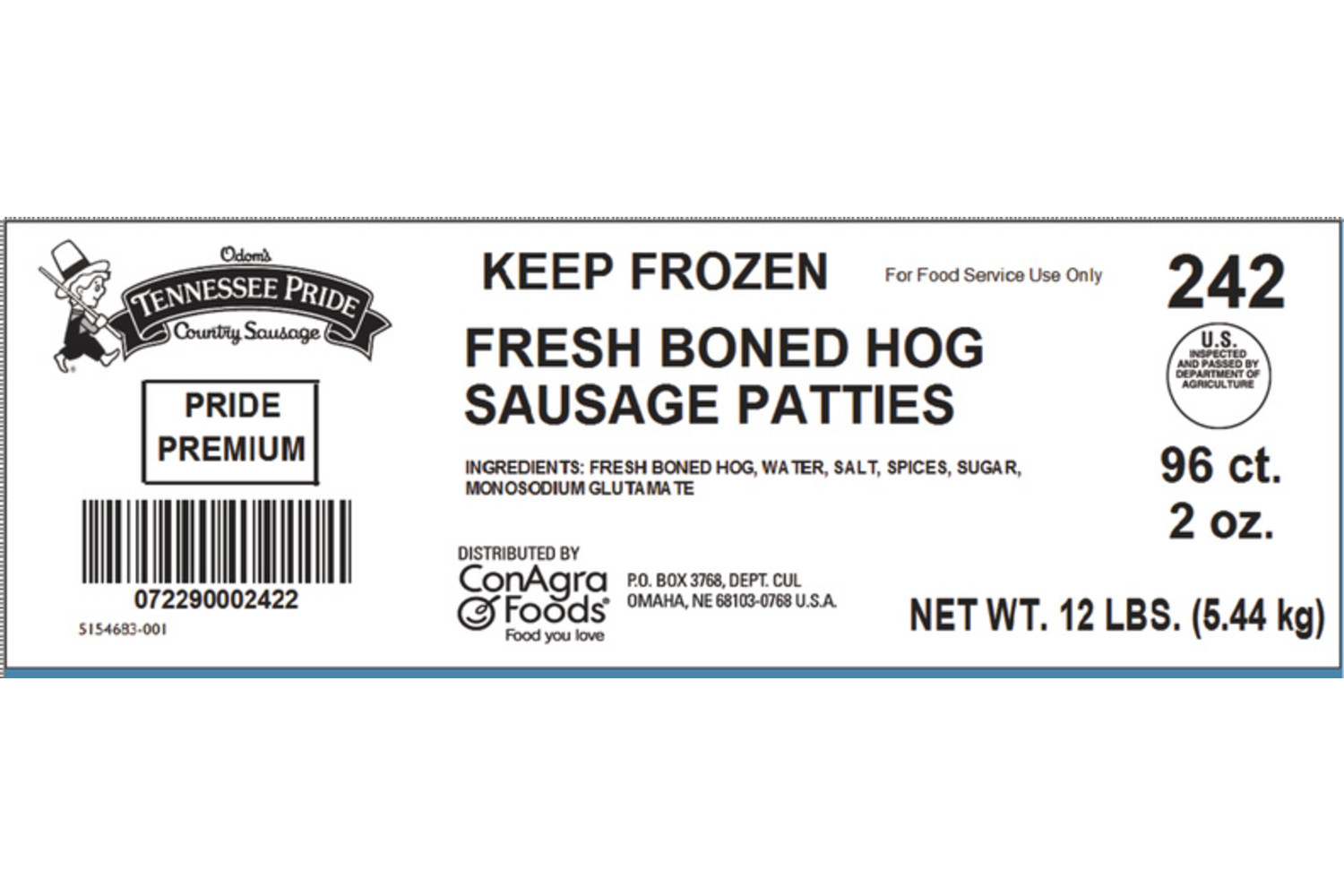 "Premium, Fresh Sliced 3"" Sausage Patties, Mild"