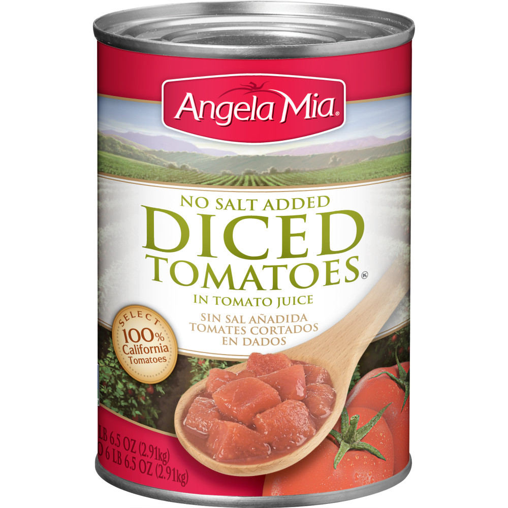 ANGELA MIA No Salt Added Diced Tomatoes, #10 Can, 6/102.5 oz.
