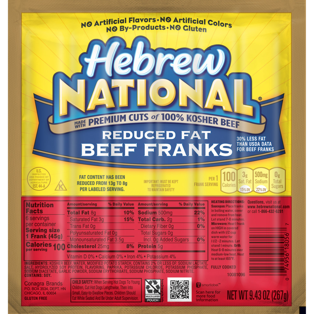 HEBREW NATIONAL Reduced Fat Beef Franks