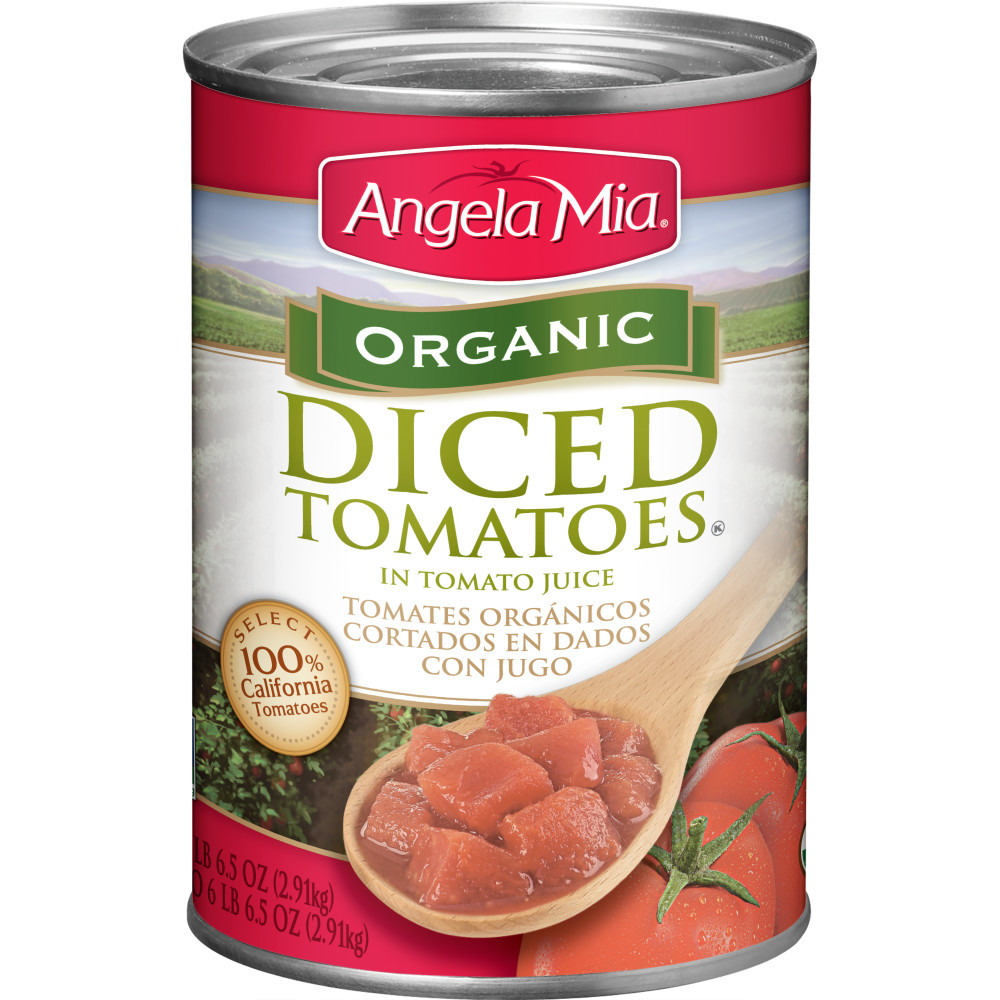 ANGELA MIA Organic Diced Tomatoes, #10 Can, 6/102.5 oz.