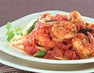 SHRIMP WITH WHOLE PEAR TOMATOES AND SHERRY