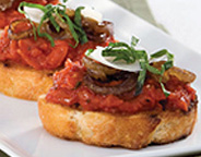 GROUND PEAR TOMATO AND CARAMELIZED ONION BRUSCHETTA