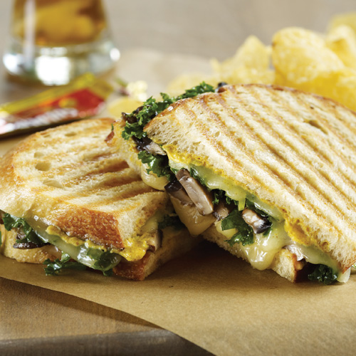 ROASTED PORTABELLO AND KALE PANINI