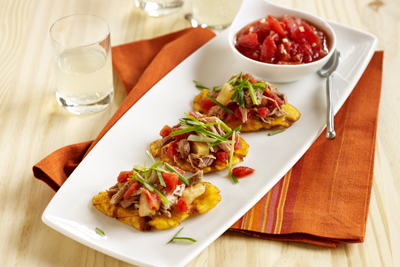 HAWAIIAN LAU LAU PORK AND PINEAPPLE TOSTONES
