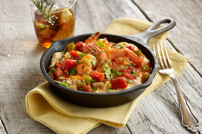 'THE BIG EASY' SHRIMP CREOLE AND MAQUE CHOUX GRITS