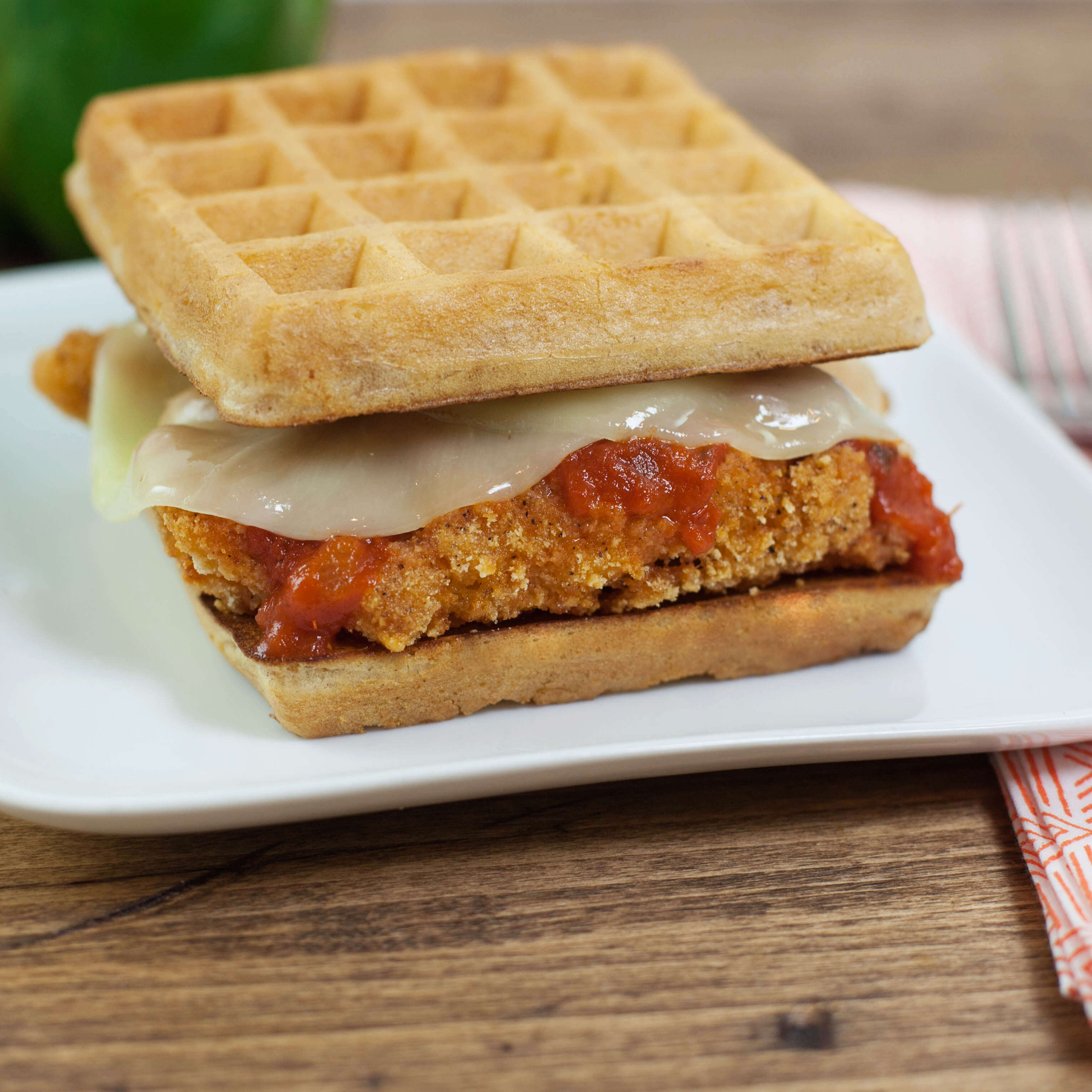 CHICK'N AND WAFFLE PARMESAN SANDWICH